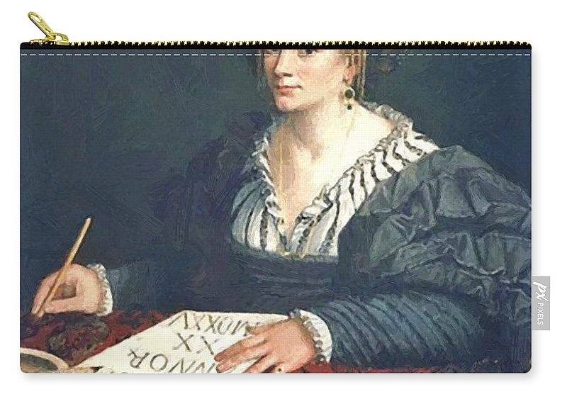 Laura Carry-all Pouch featuring the painting Laura Pisani 1525 by Dossi Dosso
