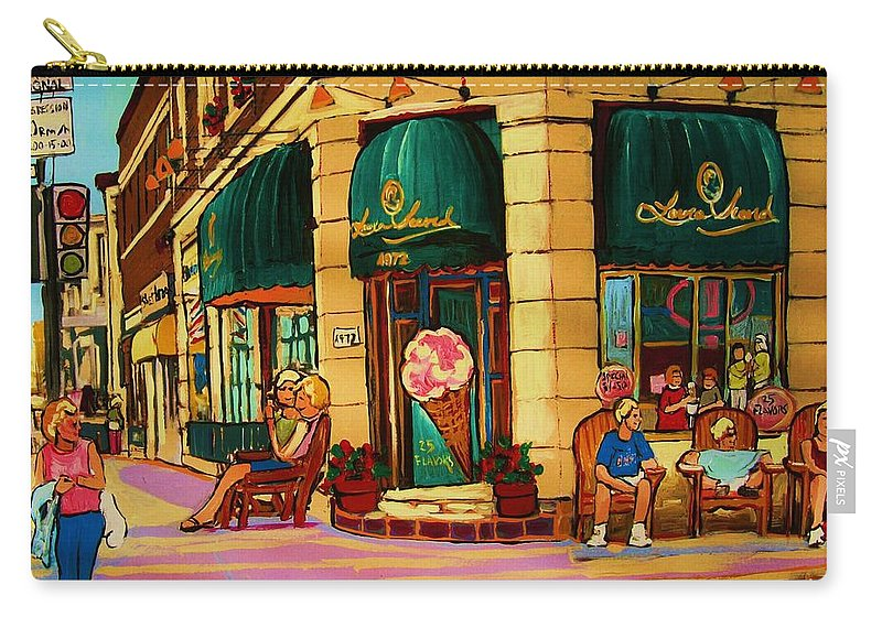 Montreal Streetscenes Carry-all Pouch featuring the painting Laura Secord Candy And Cone Shop by Carole Spandau
