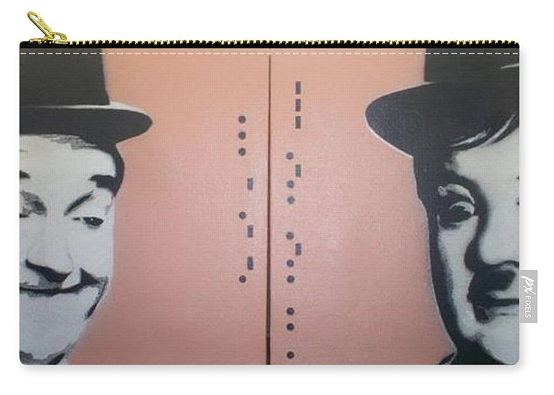 Laurel And Hardy Carry-all Pouch featuring the painting Laurel And Hardy by Gary Hogben