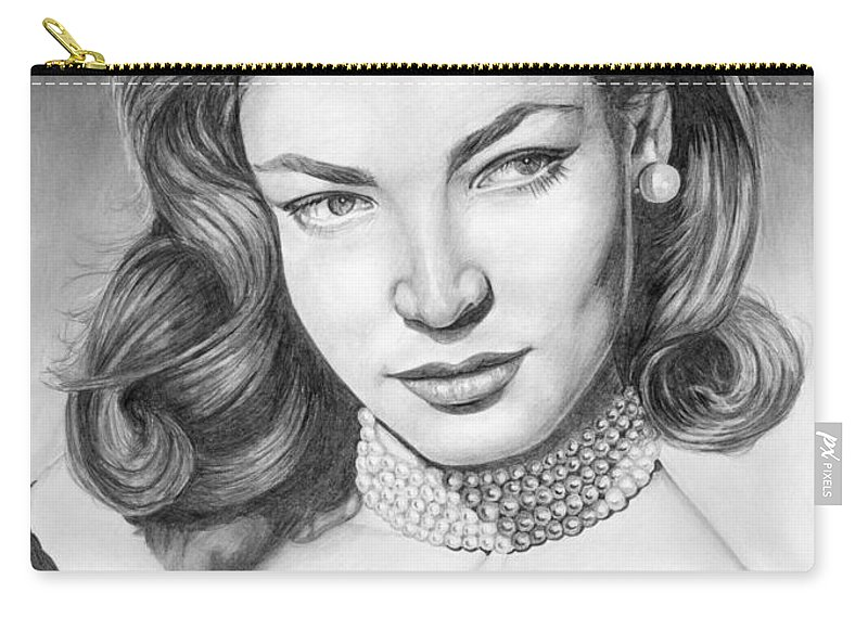 Actress Carry-all Pouch featuring the drawing Lauren Bacall by Rob De Vries