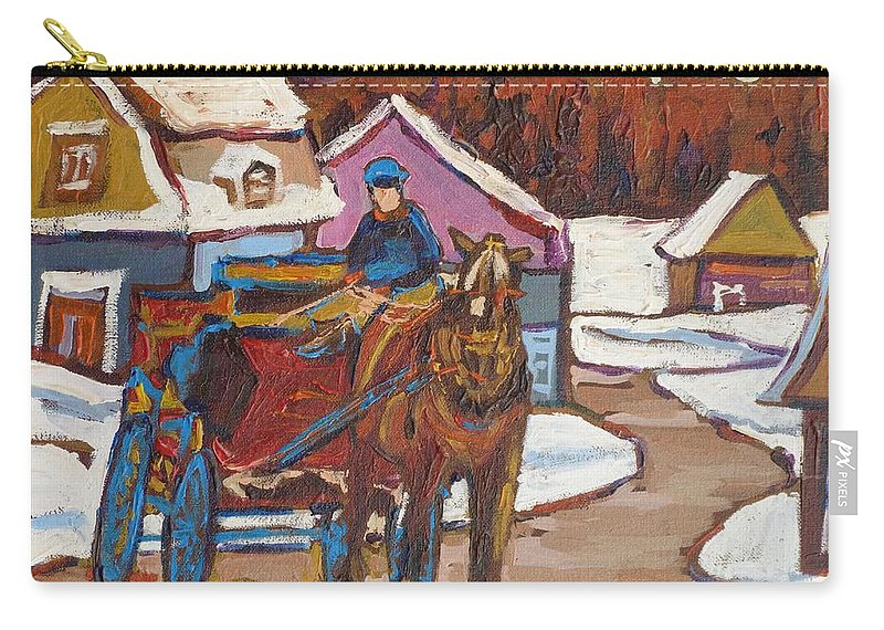 The Laurentians Are Full Of Lovely Village Roads Depicting Hay Wagons Carry-all Pouch featuring the painting Laurentian Carriage Ride by Carole Spandau