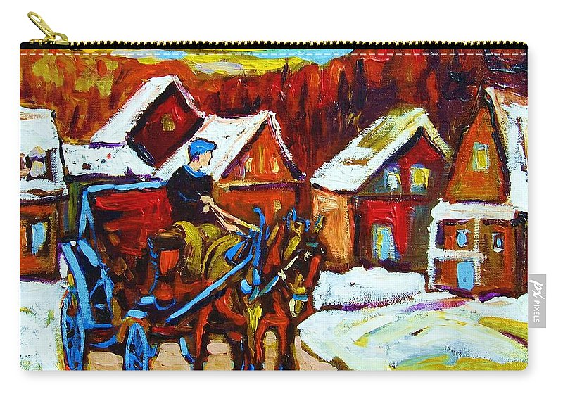 Horse And Carriage Carry-all Pouch featuring the painting Laurentian Village Ride by Carole Spandau