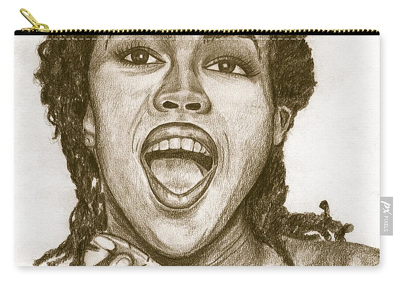 Lauryn Hill Carry-all Pouch featuring the painting Lauryn Hill by Debbie DeWitt