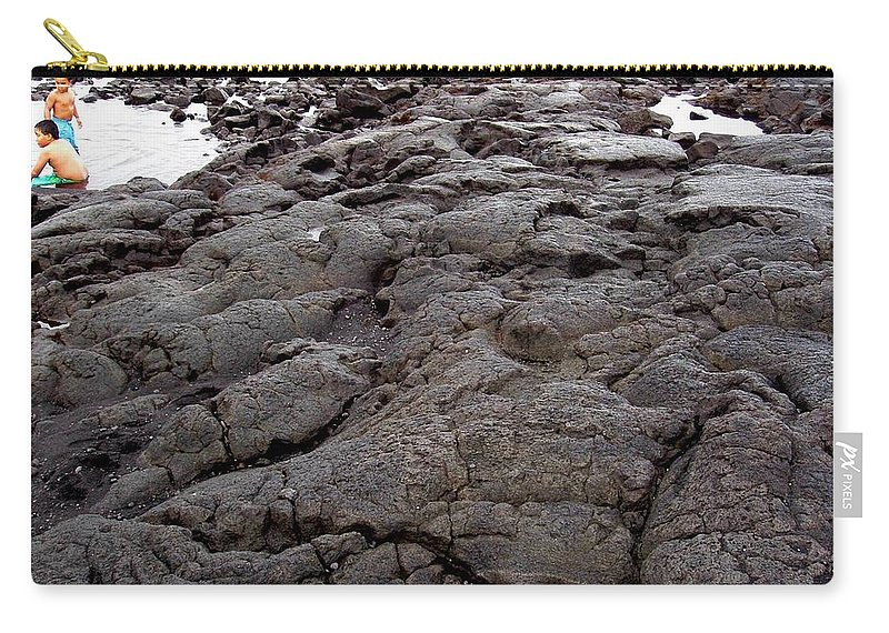 Lava Carry-all Pouch featuring the photograph Lava Rock Island by Deborah Crew-Johnson