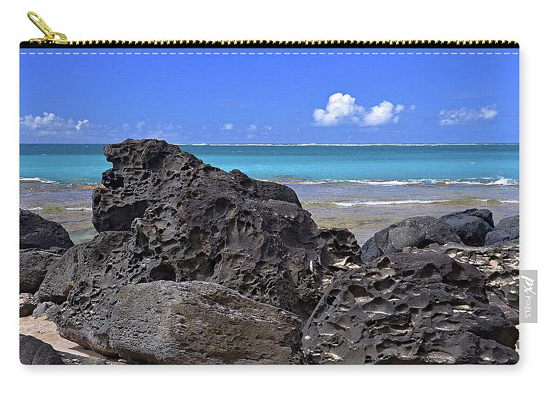 Hawaii Carry-all Pouch featuring the photograph Lava Rocks At Haena Beach by Marie Hicks