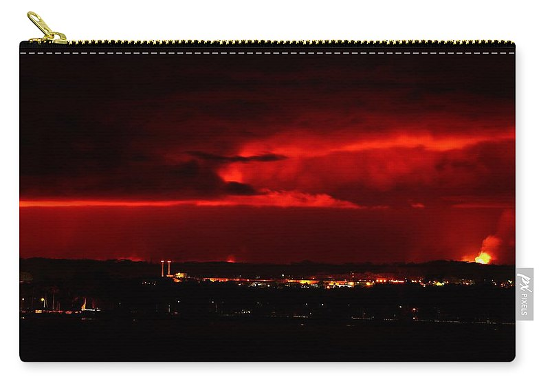Lava Fire Carry-all Pouch featuring the photograph Lava Skies Over Hilo Bay by Heidi Fickinger