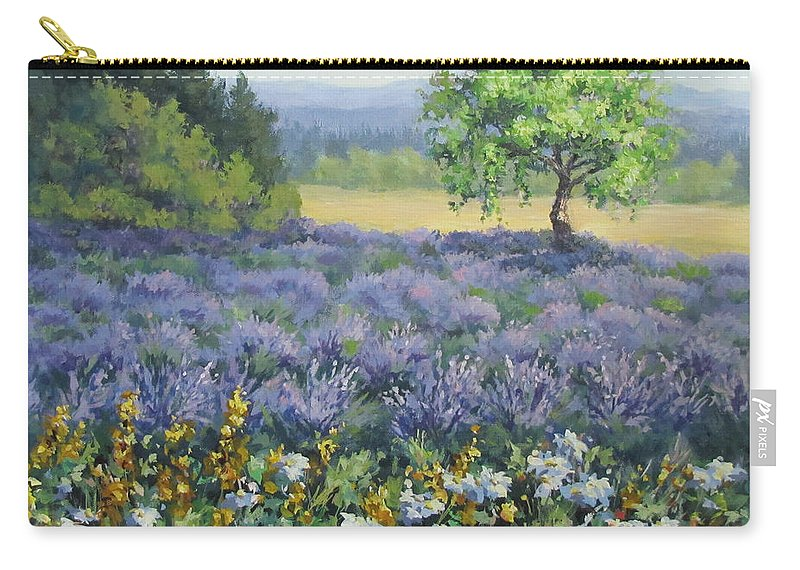 Landscape Painting Carry-all Pouch featuring the painting Lavender and Wildflowers by Karen Ilari