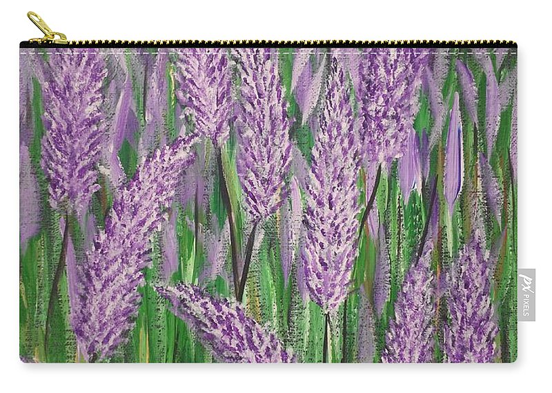 Lavender Carry-all Pouch featuring the painting Lavender Blooms by Richard Drake