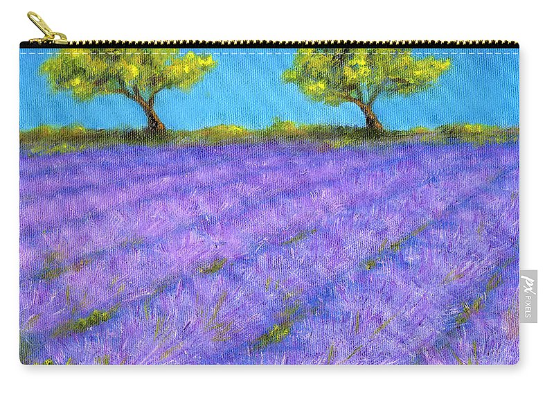 Lavender Carry-all Pouch featuring the painting Lavender Field with Twin Oaks by Jerome Stumphauzer