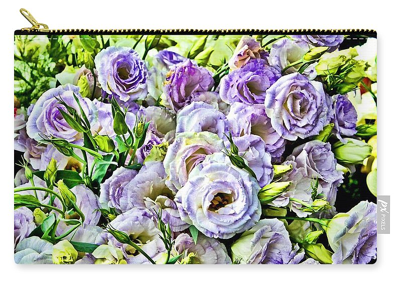 Ranunculus Carry-all Pouch featuring the digital art Lavender Ranunculus by Mary Pille