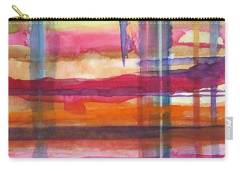 Abstract Carry-all Pouch featuring the painting Layered by Suzanne Udell Levinger