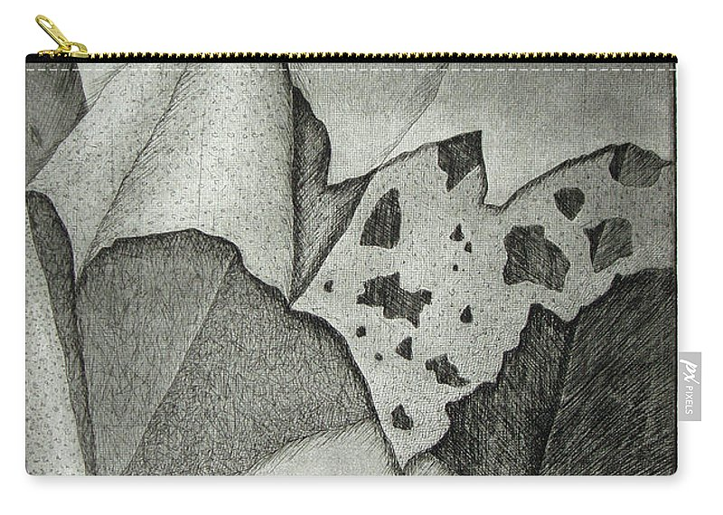 Etching Carry-all Pouch featuring the drawing Layers by Nancy Mueller