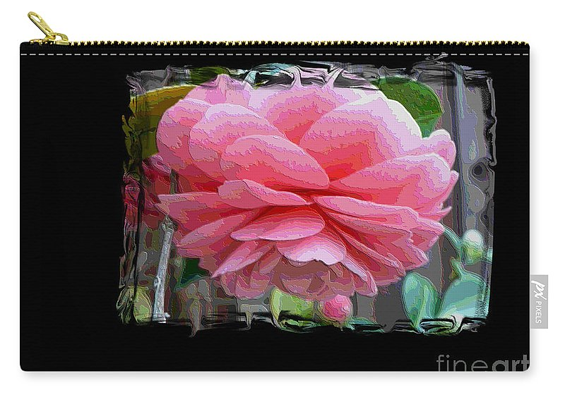 Pink Camellia Carry-all Pouch featuring the digital art Layers Of Pink Camellia Dream by Carol Groenen