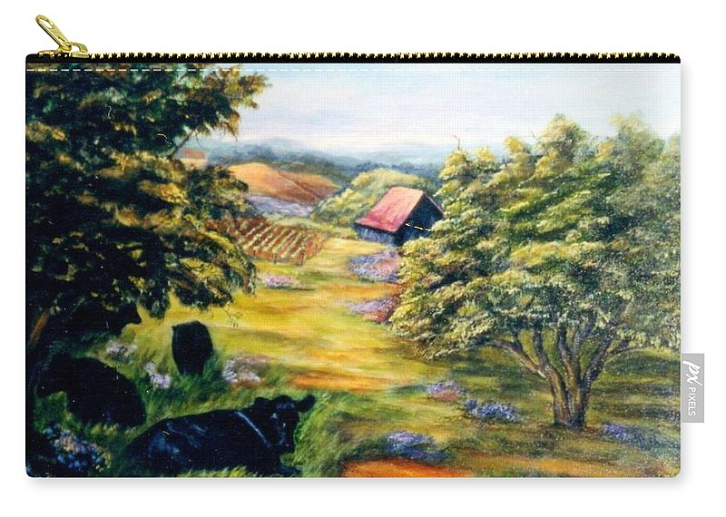 Cows Carry-all Pouch featuring the painting Lazy Day by Gail Kirtz