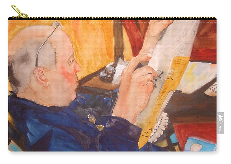 Portrait Carry-all Pouch featuring the painting Lazy Sunday Morning by Jean Blackmer