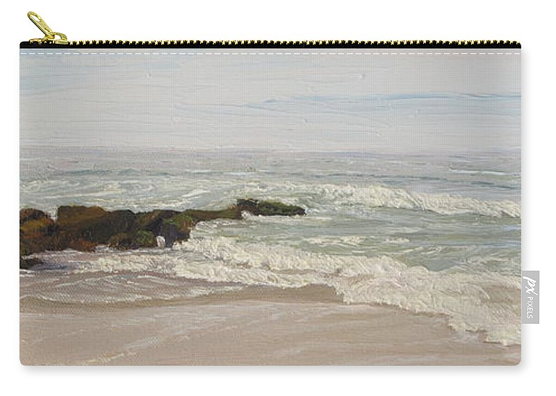 Seascape Carry-all Pouch featuring the painting LBI Surf Over Rocks by Lea Novak