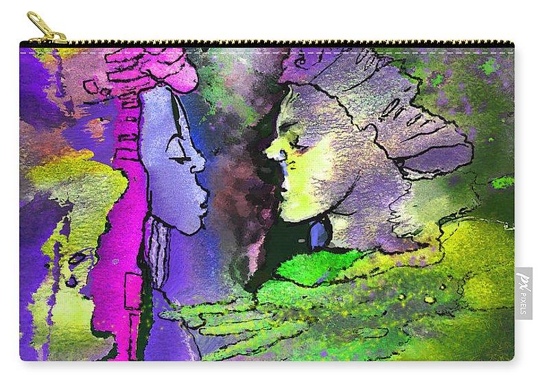 Fantasy Carry-all Pouch featuring the painting Le Baiser Du Roi Et De La Reine by Miki De Goodaboom