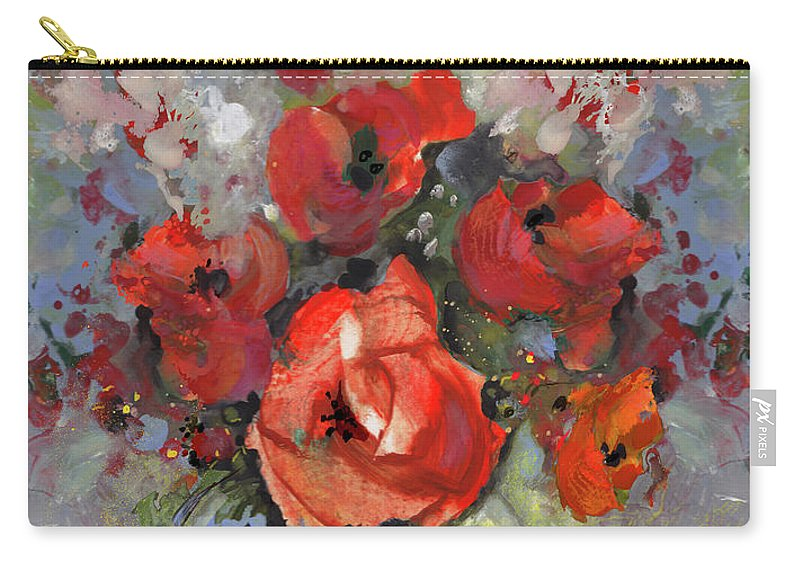 Flowers Carry-all Pouch featuring the painting Le Bouquet De Valentine by Miki De Goodaboom