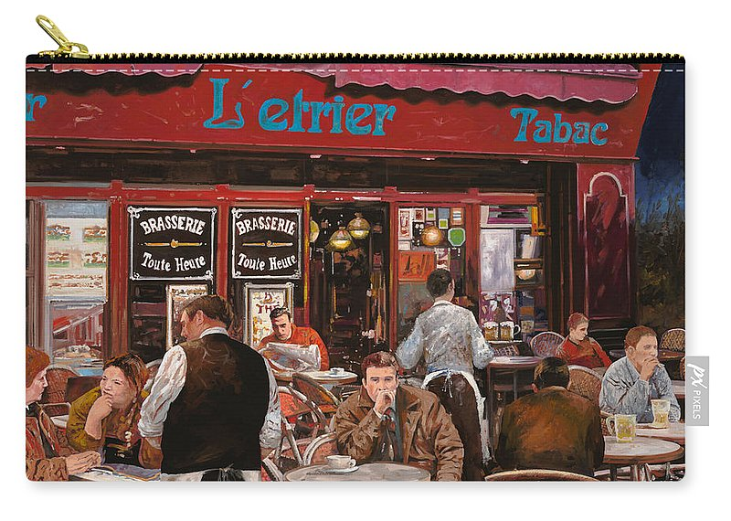 Brasserie Carry-all Pouch featuring the painting Le Mani In Bocca by Guido Borelli