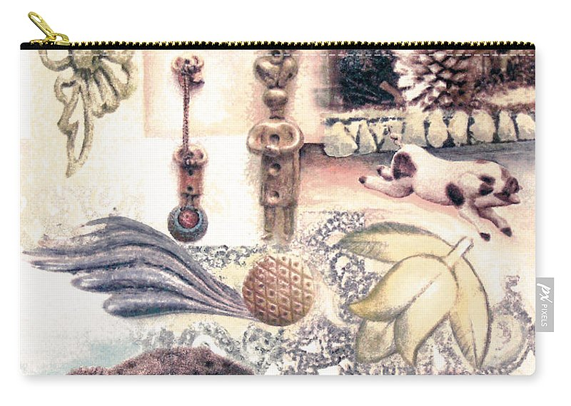 Abstract Carry-all Pouch featuring the painting Le Petite pig does fly by Valerie Meotti