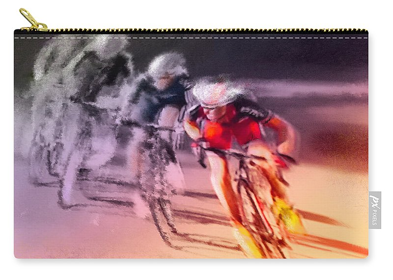 Sports Carry-all Pouch featuring the painting Le Tour De France 13 by Miki De Goodaboom