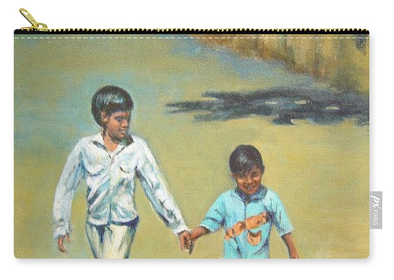 Lead Carry-all Pouch featuring the painting Lead Kindly Brother by Usha Shantharam