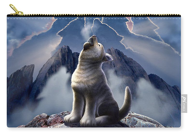 Wolf Carry-all Pouch featuring the digital art Leader of the Pack by Jerry LoFaro