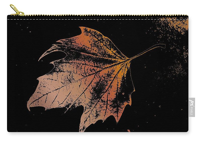 Digital Photo Manipulation Carry-all Pouch featuring the digital art Leaf On Bricks by Tim Allen