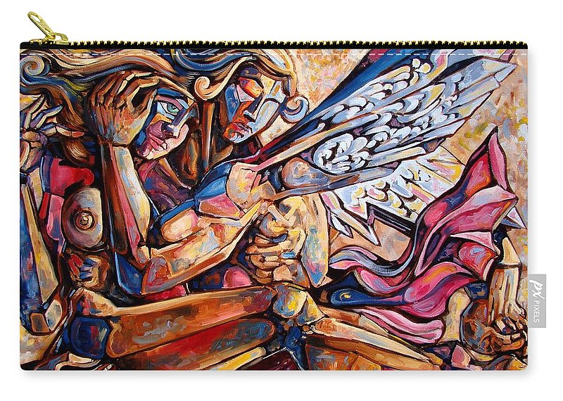 Surrealism Carry-all Pouch featuring the painting Lean On Me by Darwin Leon