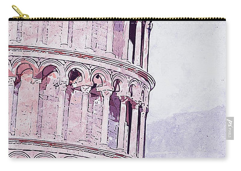 Leaning Tower Of Pisa Carry-all Pouch featuring the painting Leaning Tower Of Pisa - 03 by Andrea Mazzocchetti