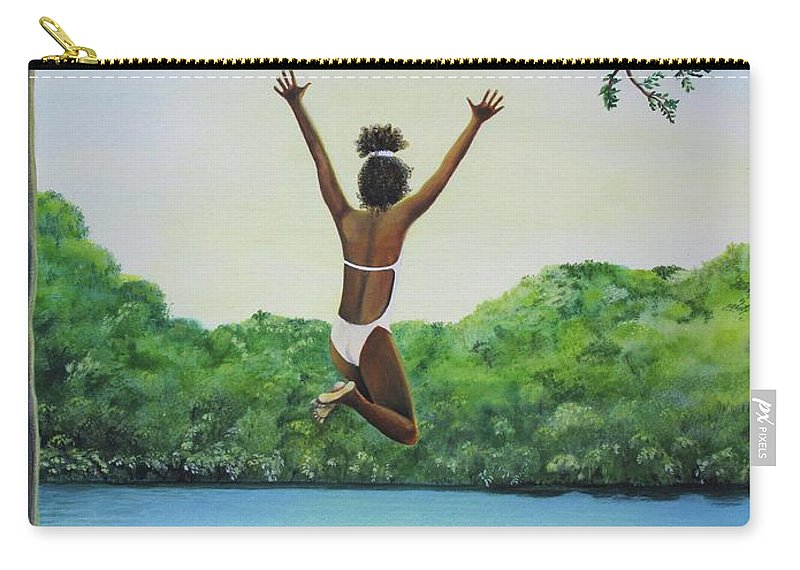 Summer Vacation Carry-all Pouch featuring the painting Leap Of Faith by Kris Crollard