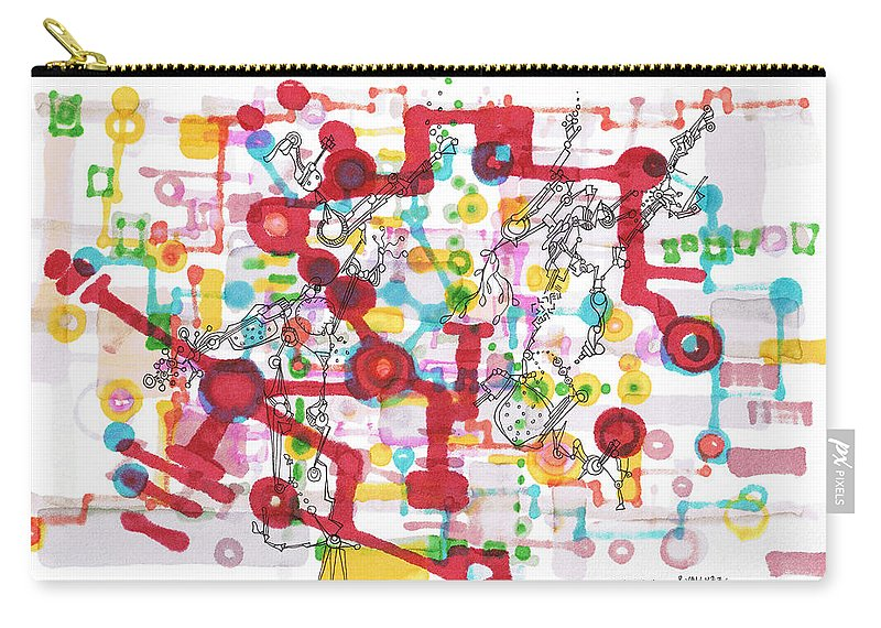 Learning Carry-all Pouch featuring the drawing Learning Circuit by Regina Valluzzi