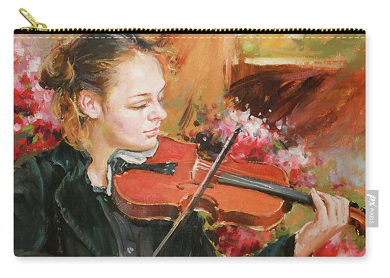 Violin Carry-all Pouch featuring the painting Learning The Violin by Conor McGuire