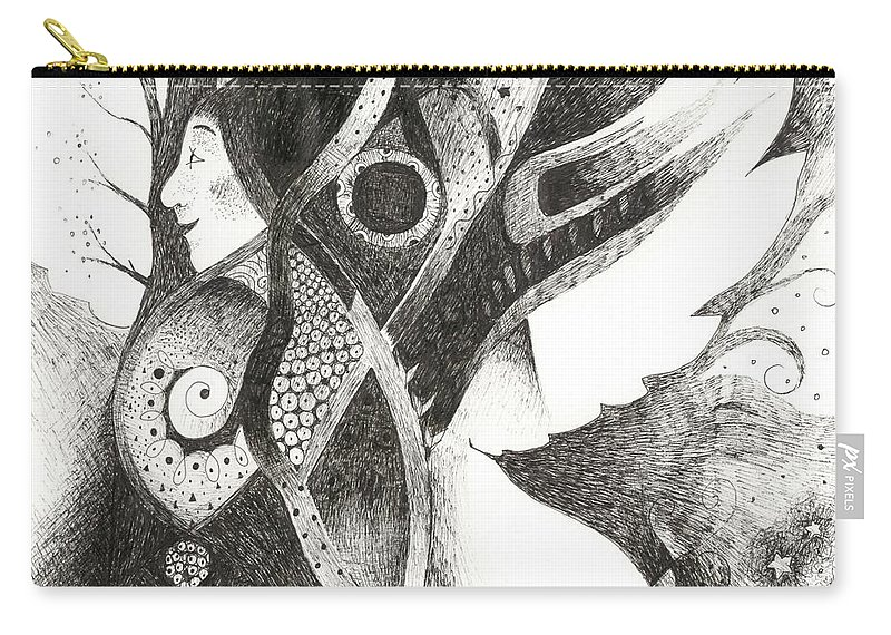 Angel Carry-all Pouch featuring the drawing Learning To Fly by Helena Tiainen