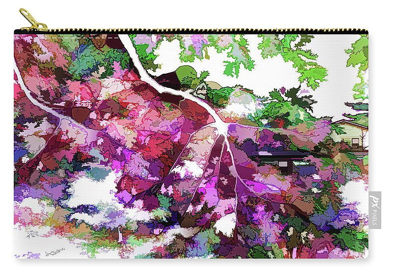 Leave In Autumn Carry-all Pouch featuring the painting Leave In Autumn by Jeelan Clark