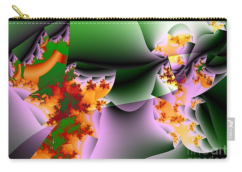 Flower Art Carry-all Pouch featuring the digital art Leaves And Carpels by Ron Bissett