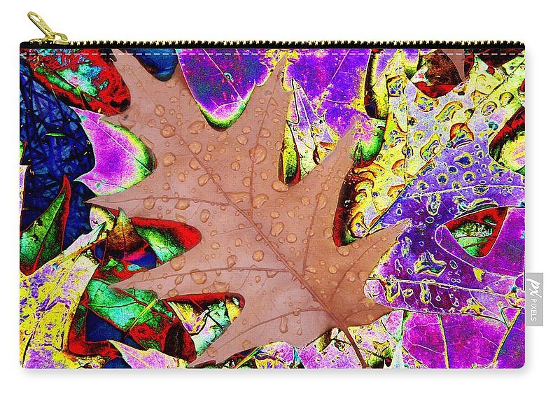 Leaves Carry-all Pouch featuring the photograph Leaves And Rain 4 by Tim Allen