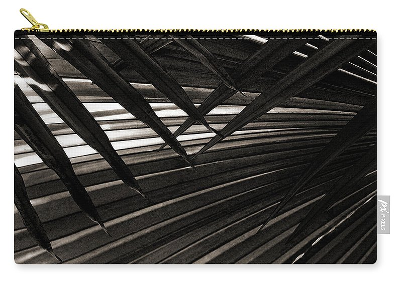 Palm Carry-all Pouch featuring the photograph Leaves Of Palm Black And White by Marilyn Hunt