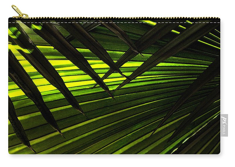 Palm Carry-all Pouch featuring the photograph Leaves Of Palm Color by Marilyn Hunt