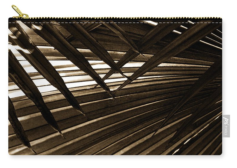 Palm Carry-all Pouch featuring the photograph Leaves Of Palm Sepia by Marilyn Hunt
