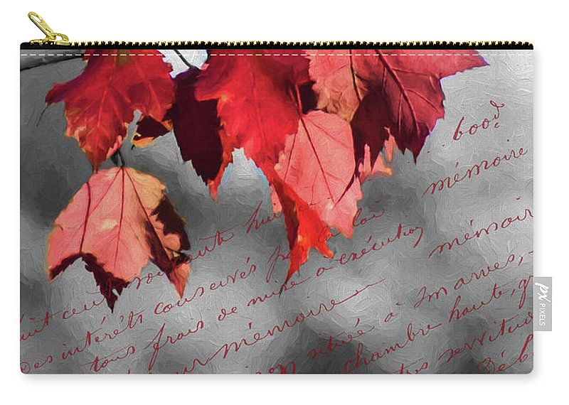 Black Carry-all Pouch featuring the photograph Leaves Of Red by Cathy Kovarik