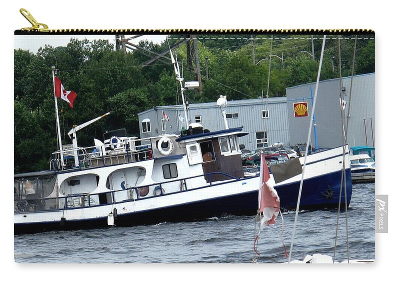 Boat Carry-all Pouch featuring the photograph Leaving Harbor by Ian MacDonald