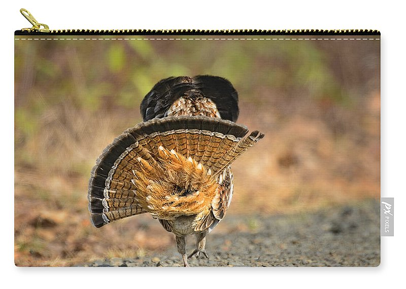 Timothy Flanigan Carry-all Pouch featuring the photograph Leaving The Scene Grouse by Timothy Flanigan