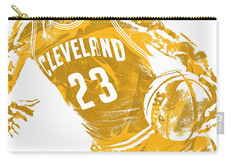 Lebron James Carry-all Pouch featuring the mixed media Lebron James Cleveland Cavaliers Pixel Art 20 by Joe Hamilton