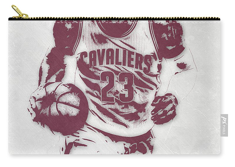 Lebron James Carry-all Pouch featuring the mixed media Lebron James Cleveland Cavaliers Pixel Art 4 by Joe Hamilton