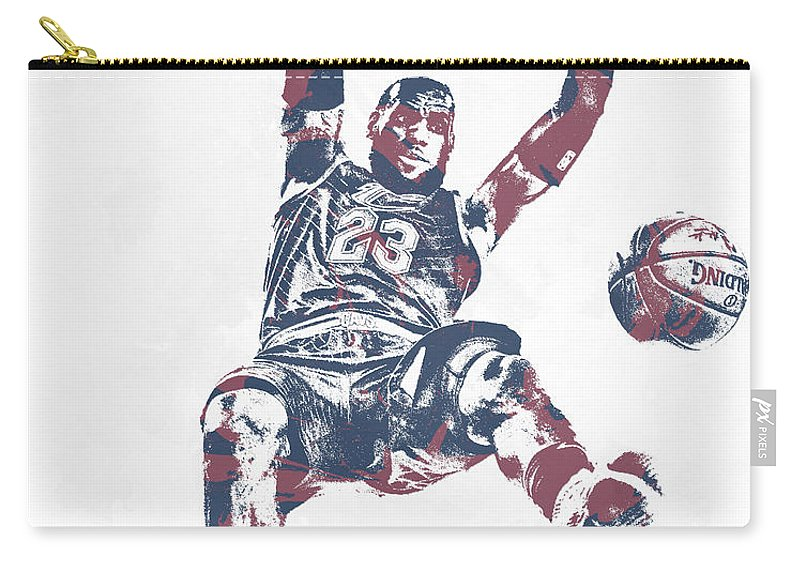 b0ecd882a Lebron James Carry-all Pouch featuring the mixed media Lebron James  Cleveland Cavaliers Pixel Art