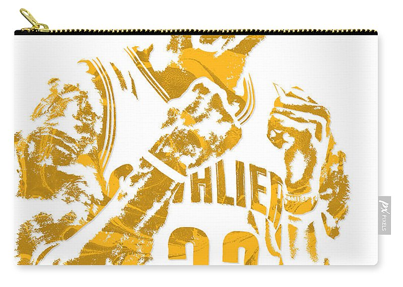 Lebron James Carry-all Pouch featuring the mixed media Lebron James Cleveland Cavaliers Pixel Art 9 by Joe Hamilton