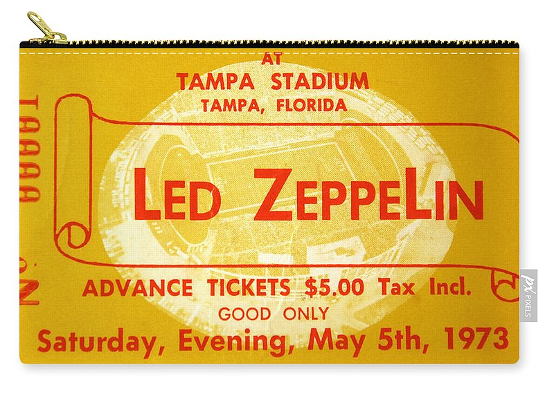 Fine Art Photography Carry-all Pouch featuring the photograph Led Zeppelin Ticket by David Lee Thompson