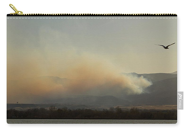 Lefthand Canyon Wildfire Carry-all Pouch featuring the photograph Lefthand Canyon Wildfire Across The Lake View by James BO Insogna