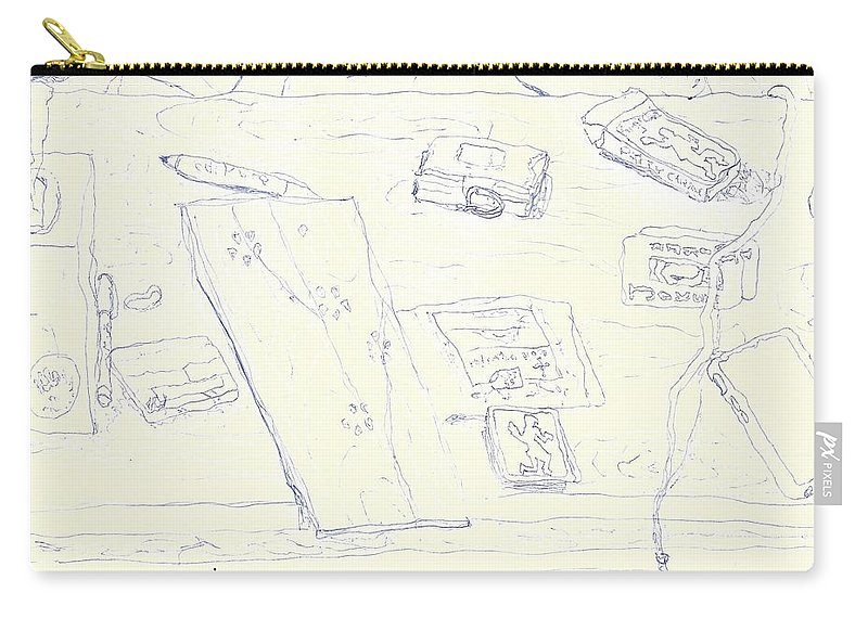 Lefty Carry-all Pouch featuring the drawing Lefty Coffee Table by Neil Galland
